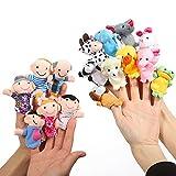 ThinkMax 16 Pack Soft Plush Finger Puppets Set - MANSA 10 Animals + 6 People Family Members Velvet...