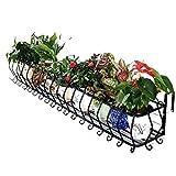 Pflanzenständer für den Außenbereich, Schmiedeeisen, Blumenständer, Balkongitter zum Aufhängen, Fleshy Blumentopf-Regal, kann 135 kg tragen, metall, 80x28x20cm