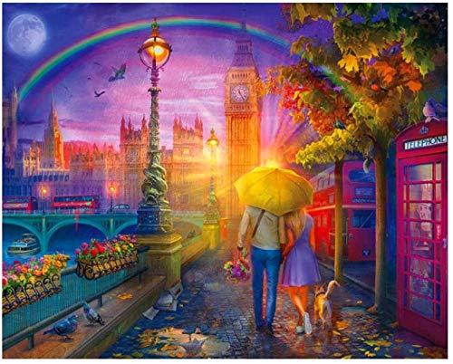 Pintura al óleo de bricolaje, arco iris y, pintura de pareja de pintura digital, pintura al óleo de pintura digital, kit de pintura digital-Enmarcado