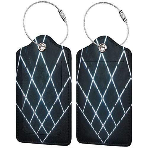 2 Pack FULIYA High-end Leather Luggage Tags for Suitcases - Travel ID Identifier Labels Set for Bags & Baggage - Men & Woman,Squares, Neon, Ceiling, Glow