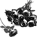 Tuzazo 10pcs Black Rose Artificial Flower Single Stem Fake Silk Flowers Bridal Wedding Bouquet, Realistic Blossom Flora for Home Garden Party Hotel Office Decorations (Black and White)