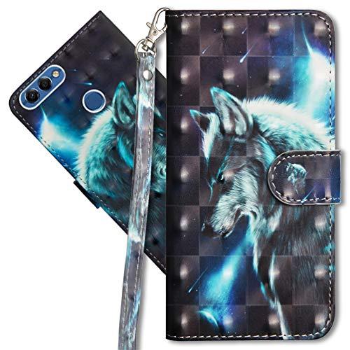MRSTER Huawei Y5 2018 Handytasche, Leder Schutzhülle Brieftasche Hülle Flip Hülle 3D Muster Cover mit Kartenfach Magnet Tasche Handyhüllen für Huawei Y5 2018 / Honor 7S. YX 3D - Wolf