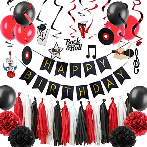 GSDJU happy birthday banner,bunting,decoration,party,wreath,reusable,Rock & Roll Kids Birthday Party Decorations Photo Booth Prop Hanging Banner/Swirls Cake Topper Balloon Rock Music Party Supplies