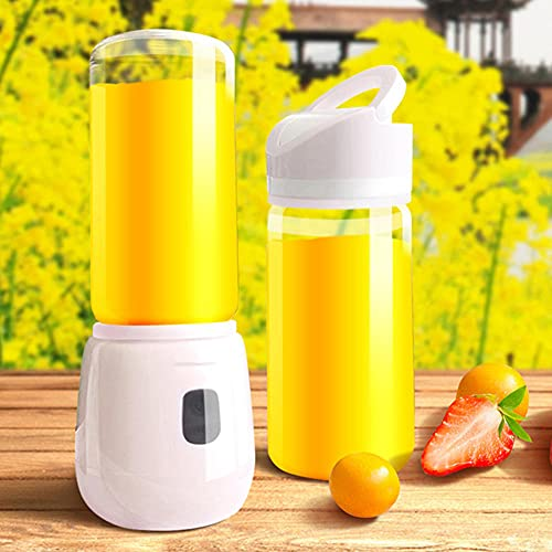 Licuadora Portátil , Eléctrico USB Juicer Mini Licuadora Taza de Jugo Máquina de Exprimidor de Botellas de Agua Con 6 Cuchillas, Smoothies, Comida Bebés 420ml-7.4v 2 taza de blanco