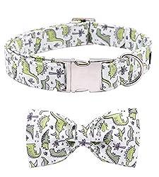 2. ARING PET Adjustable Dinosaur Bowtie Dog Collar