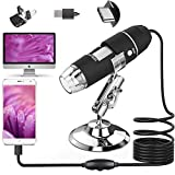 USB Digital Microscope,3in1 50X-1600X Magnification Microscope Camera for Coins with 8 Led Lights and Metal Base,Compatible with Windows Mac Linux Android for Kids,Adults