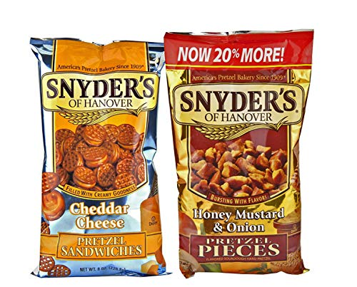 Snyder's of Hanover Pretzel Pieces Variety Pack - Two Delicious Flavors - Honey Mustard & Onion Pretzel Pieces (12 oz) and Cheddar Cheese Pretzel Pieces (8 oz) - Healthy Snacks (Pack of 2 bags)