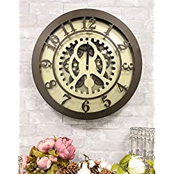 Ebros Large 19.5 W Timeless Classical Vintage Steampunk Industrial Design Bronzed Metal Wall Clock with Complex Mechanical Moving Gears Accent Clockwork Gearwork Clocks Decor