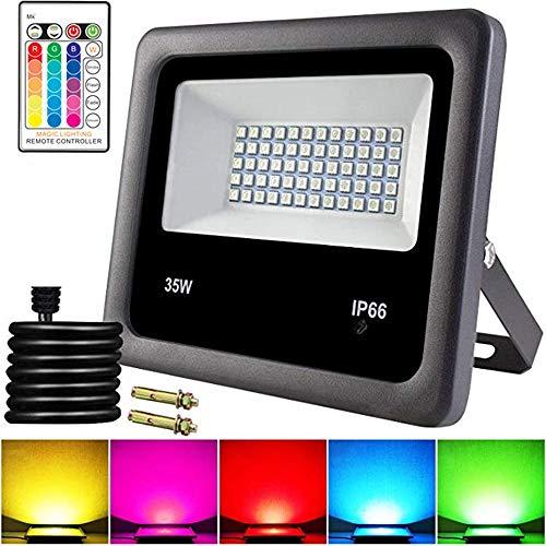 JiAGU LED-spot, 16-kleuren-wisselend licht, afstandsbediening, LED-schijnwerper, 35 W, IP66, daglicht-wit wandlamp, ideaal voor de forecourt, tuin, garage en nog veel meer, voor garage, tuin en voorplaats