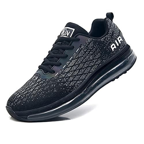 Axcone Laufschuhe Damen Herren Turnschuhe Sportschuhe Schuhe Air Cushion Sneaker Freizeit Training Fitness Gym 8998-BK 44