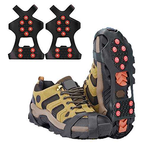 LERTREE 1 Pair Ice Snow Grips 10 Studs Anti Slip Snow Ice Climbing Shoe Spikes Slip on Boots Shoes Cover for Hiking Fishing S
