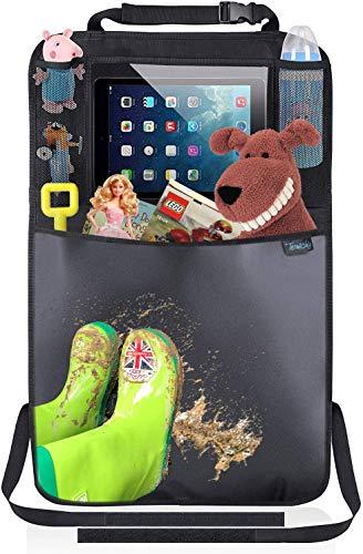 Termichy Auto Rückenlehnenschutz,Trittschutz mit Rücksitz-Organizer,Rücksitzschoner,Kick-Matten-Schutz für Autositz mit Durchsichtigem iPad-Tablet-Halter Wasserdichtes(1 Stück) …