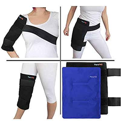 Large Pain Relief Ice Pack with Wrap - Elastic Velcro Straps for Hot/Cold Therapy | Best as Heat Pad or Cold Pac for Hip, Shoulder, Knee, Thigh, Shins & Calves
