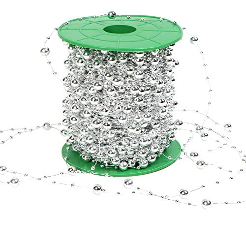 37YIMU 197 Feet Christmas Tree Beads Artificial Plastic Pearls Beads Garland Spool Rope for Christmas Wedding Holiday DIY Decoration Supplies (Silver)