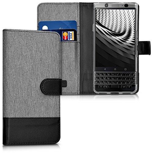 kwmobile Wallet Hülle kompatibel mit BlackBerry KEYone (Key1) - Hülle mit Ständer - Handyhülle Kartenfächer Grau Schwarz