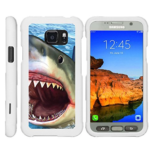TurtleArmor | Compatible with Samsung Galaxy S7 Active Case | G891A [Slim Duo] Fitted Ultra Compact Slim Hard Cover Snap On Shell Protector on White Animal - Shark Attack