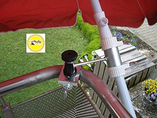 2 x balkon, houder voor paraplustokken van 25 tot Ø 50 mm, voor bevestiging aan buiten- of binnen, met 11 + 6 cm afstand, parapluhouder, Holly gepatenteerd, voor bevestiging aan ronde of hoekige elementen tot 55 mm, met 5-voudig verstelbare multi, houder 360 graden draaibaar met rubberen doppen om krasvrij te maken. Bevestiging - 360 ° draaibare - houder met afstandsbeuken voor kapstokken van 25 tot Ø 50 mm met 13 cm diepe opnamehoes.