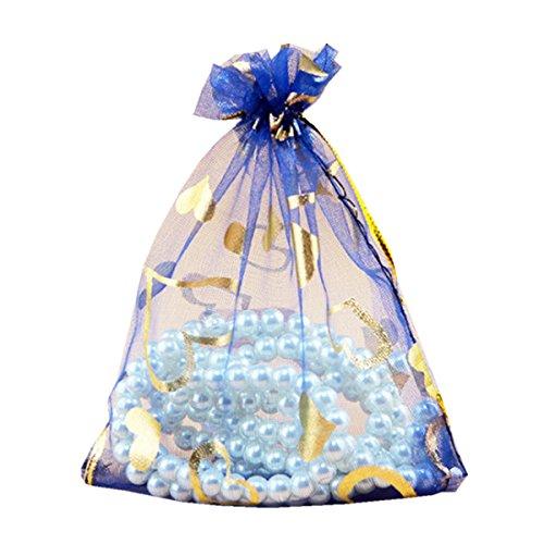 Homieco 100 stks Perzik hart Organza Gift Tassen Trekkoord Mesh Tas Bruiloft Party Favor Tassen Sieraden Verpakking Tas Kerstmis Snoep Tas 13 x 18cm