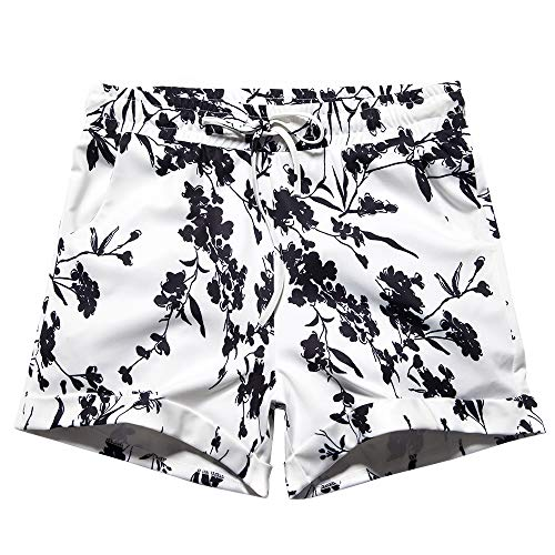 Women's Summer Drawstring Elastic Waist Casual Floral Print Beach Shorts Floral Tag 5XL-US 18