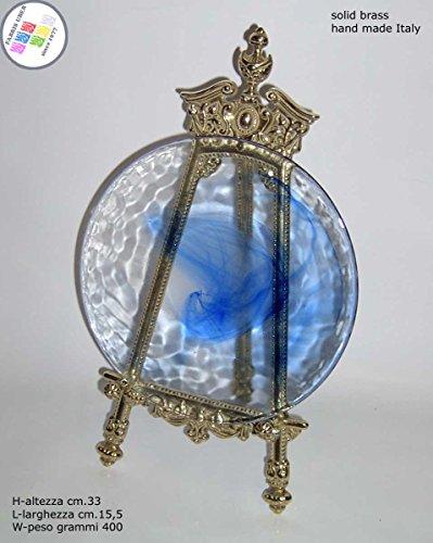 Présentoir chevalet baroque laiton H. cm.33 pour assiettes miniature photos cadres
