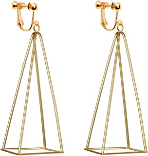 3D Triangle Clip on Earrings Dangle Drop Aztec Gold Cut Out Pyramid Steampunk Diva Gypsy for Women