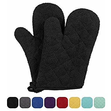 VEEYOO 100% Cotton Oven Mitts Terry Heat Resistant Oven Gloves for Kitchen Set of 2, 7 x 12 Black