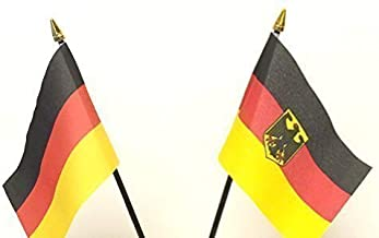 Emblems-Gifts Germany & German Eagle Crest Double Friendship Table Flag Set + Base