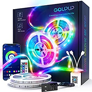100 FT Long LED Strip Lights, GUPUP LED Lights for Bedroom, Color Changing Light Strip with Music Sync, Smart Lights Controlled via Bluetooth APP and IR Remote.