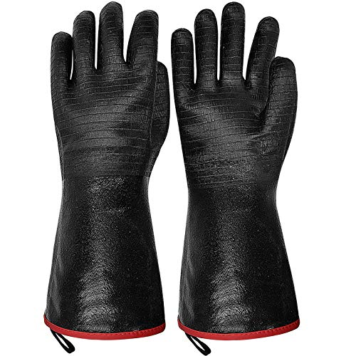 Grillhandschuhe Ofenhandschuhe Hitzebeständige BBQ Handschuhe Lederhandschuhe bis zu 500℃ Kochhandschuhe Backhandschuhe Topfhandschuhe für Grillen Küche Schweißen Feuerplatz Schwarz