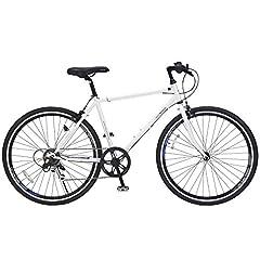 【期間限定オプションサービス! 】マイパラス(Mypallas)クロスバイク26インチ M-605 シマノ製6段ギア シンプルフレーム+エアロリム スポーティサドル 男女兼用 スタイリッシュな3色カラー (一部組立品) ホワイト