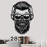 Pegatina de pared,hipster fashion man gafas de sol bigote barba música auricular pegatinas dormitorio sala de estar decoración decoración del hogar decoración del hogar 75x107cm