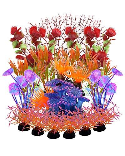 FBBULES 16 Piezas de Adornos de Acuario, con 1 Arrecife de Coral de Simulación, 1 Coral Rojo Artificial, 14 Plantas de Plastico, para Decoración de Peceras
