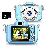 PELLOR Appareil Photo Enfants avec Carte 32GB Mini Caméra Numérique Rechargeable Selfie Filtres Protection Anti-Choc Bleu en Silicone Cadeaux Enfant