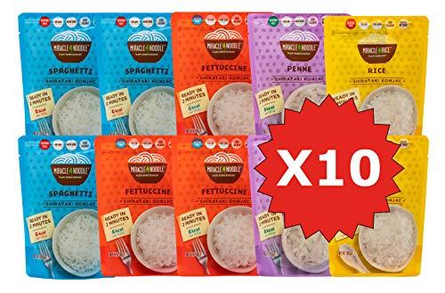 Pasta Shirataki di Konjac Miracle Noodle, Nuova Generazione, scatola assortita da 10 pacchetti da 200g cad.(contiene: 3 Spaghetti, 3 Fettuccine, 2 Penne e 2 Riso)
