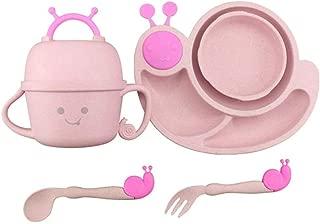 JYC Baby Feeding Bowl Wheat Creative Anti Scalding Tableware Fall Baby Feeding Children Cutlery Children Bowl Kids Spoon Fork Cup Bowl Gift Dinnerware Set (Color : A)
