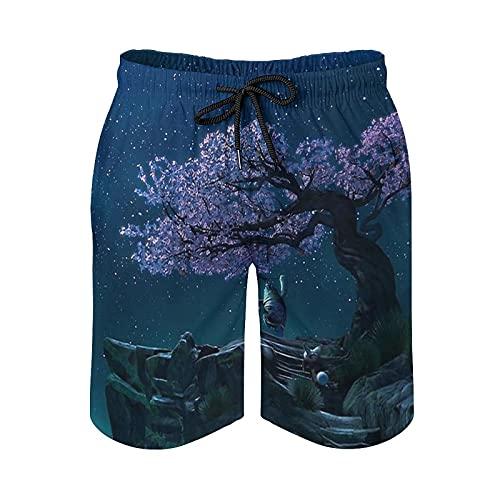 Sunsupine Men's Beach Shorts Master Oogway Speedo Quick Dry Beach Shorts, Pull Line, Light Elastic Waist and Pockets White-style1 L