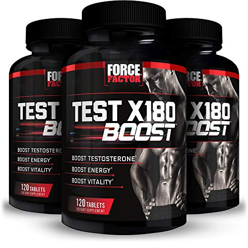 Force Factor Test X180 Boost Testosterone Booster for Men with Fenugreek DAspartic Acid DAA Tribulus and Black Maca to Boost Total Testosterone Energy and Vitality Tablets, 360 Count