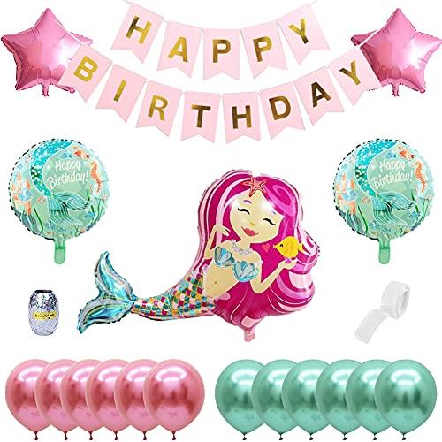 Sirena Globos,QSXX 20 Piezas Decoracion Cumpleaños Sirena Decoración de Fiesta de Sirena Sirena Globo Feliz Cumpleaños Ballon Banner Fiestas Navideñas, Decoración de Habitaciones Infantiles,Ro