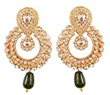 NEW! Touchstone Indian Bollywood Rich Beautiful Studded Look White Rhinestone Green Drop Chaand Moon Designer Jewelry Earrings In Antique Gold Tone For Women.