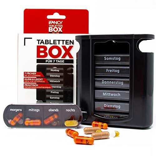 iFancy Pillendose für 7 Tage / 1 Woche - 28 Fächer Medikamentendosierer Pillenbox Tablettendose Tablettenbox Schwarz