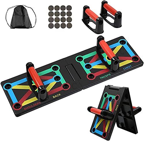 MBMT 12 In 1 Push Up Board,Plegable Aparatos Para Hacer Ejercicio Casa, Equipo De Fitness Multifuncional Codificado Por Colores Para Ejercicio En Casa