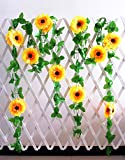 Maker2 Artificial Sunflower Garland 8 FT Silk Sunflowers Vine with Green Leaves Hanging Sunflowers for Wedding Baby Shower Party Garden Decoration'