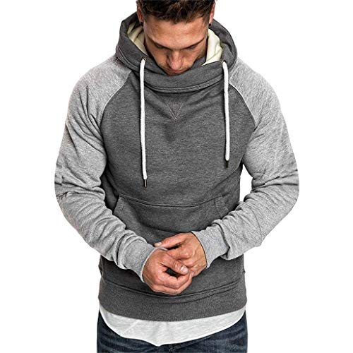 Check Out This Men Hooded Sweatshirt Slim-Fit SFE Winter Turtleneck Patchwork Drawstring Hoodie Pull...