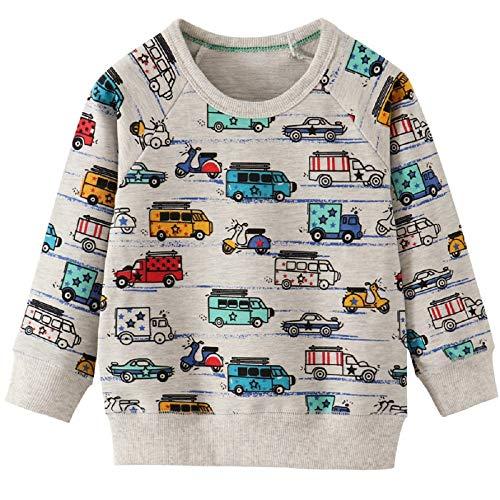 CM-Kid Sweatshirt Jungen Baumwolle Rundhals Langarm Strickpullover Kinder Warme Pullover Oberbekleidung Frühling Herbst Winter Flugzeug Auto Hellgrau 98