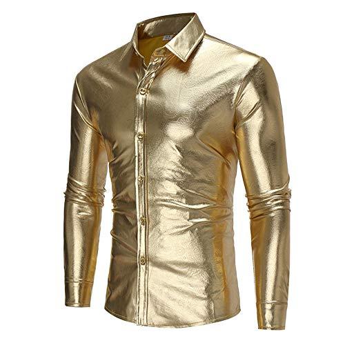 URPRU Mens Slim Fit Metallic Color Performance Suit Jackets/Night Club Blazers/Suit Vests Dress Floral Suit-GOLD_L