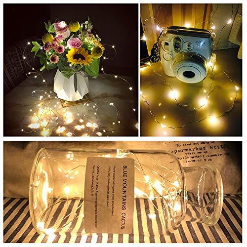 【10 pezzi】Luci Stringa LED - 20 LED 2M Mini Lampada a fili di rame Bianco Caldo, Lucine Decorative a Batteria Luci d'atmosfera Bottiglia di vino, Interni e Esterni per Festa, Natalizie, Halloween