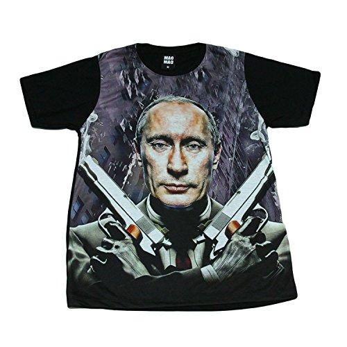 プーチン大統領 ロシア マフィア 殺し屋 ピストル デザインTシャツ おもしろTシャツ メンズTシャツ 半袖 (XL) [並行輸入品]