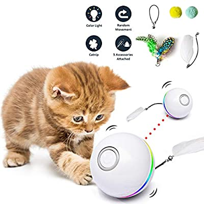 Fairwin Cat Toys for Indoor Cats, Interactive Cat Toy Ball with LED Light and Catnip Toys for Cats Kitten Funny Chaser Roller Auto 360 Degree Self-Rotating & USB Rechargeable