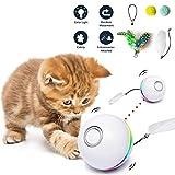 Fairwin Juguetes para Gatos Pelotas, Bolas de Gato Juguete interactivas para Gatos con Luces LED y Juguetes con Hierba Gatera para Gatos de Interior, Rotación Automática de 360 Grados y Carga USB