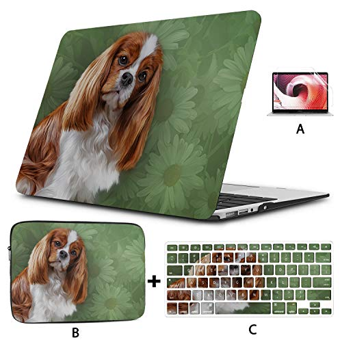 MacBook 15 Cover Drawing Dog Cavalier King Charles Spaniel Portrai MacBook Pro 15inch Case Hard Shell Mac Air 11'/13' Pro 13'/15'/16' with Notebook Sleeve Bag for MacBook 2008-2020 Version